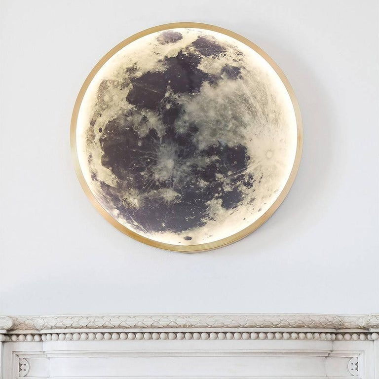 Wall Mounted Moon Lamp : Bronze Wall Mounted Moon Light For Sale at 1stdibs