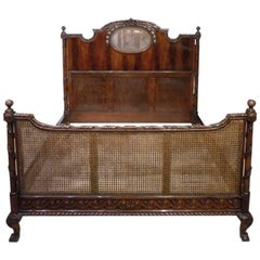 Beautifully Carved Mahogany Edwardian Period Double Bed