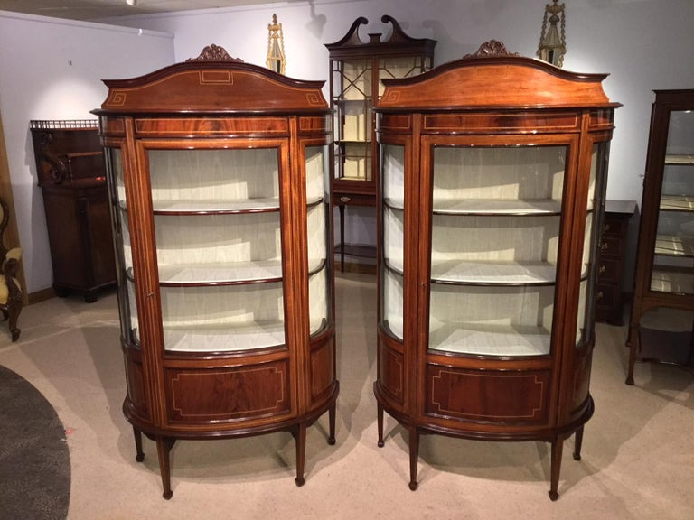 A fine quality pair of mahogany inlaid Edwardian period antique display  cabinets. Each having a - Fine Quality Pair Of Mahogany Inlaid Edwardian Period Antique