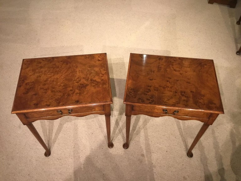 Pair of figured walnut 1920s antique lamp tables at 1stdibs pair of figured walnut 1920s antique lamp tables in excellent condition for sale in darwen aloadofball Images