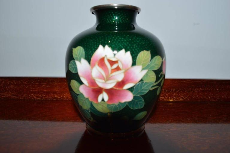A Small Green Ground Ginbari Cloisonne Vase At 1stdibs