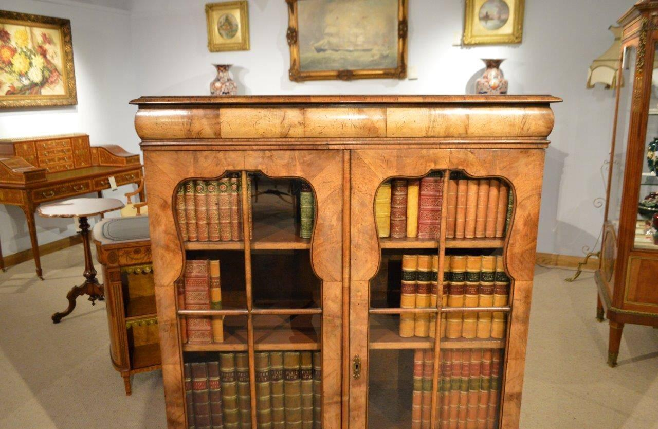 Walnut Queen Anne Revival Antique Bookcase At 1stdibs
