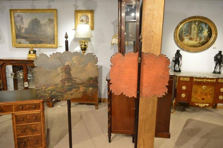 Charming Pair of Rosewood Early Victorian Period Antique Pole Screens 4