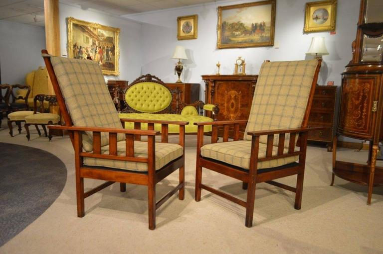 Pair Of Mahogany Arts And Crafts Period Antique Reclining Chairs 3