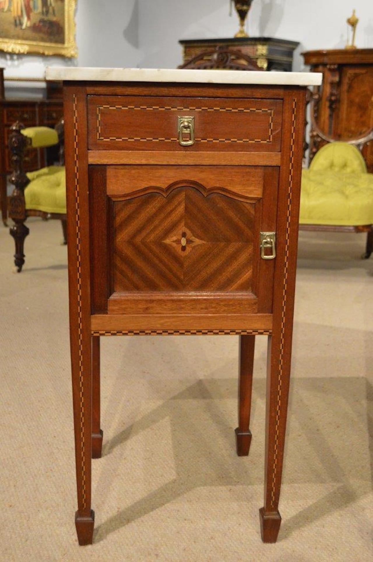- Good Pair Of Mahogany Inlaid French Antique Bedside Cabinets At 1stdibs