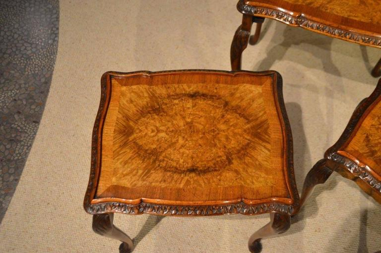 1920s Period Burr Walnut Queen Anne Style Antique Nest Of Tables In  Excellent Condition For Sale