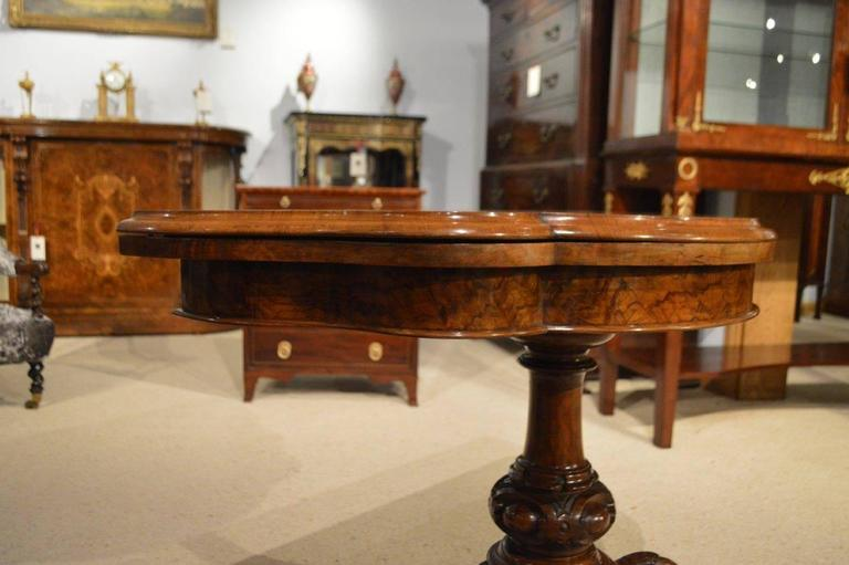 burr walnut victorian period antique fold over card table at 1stdibs