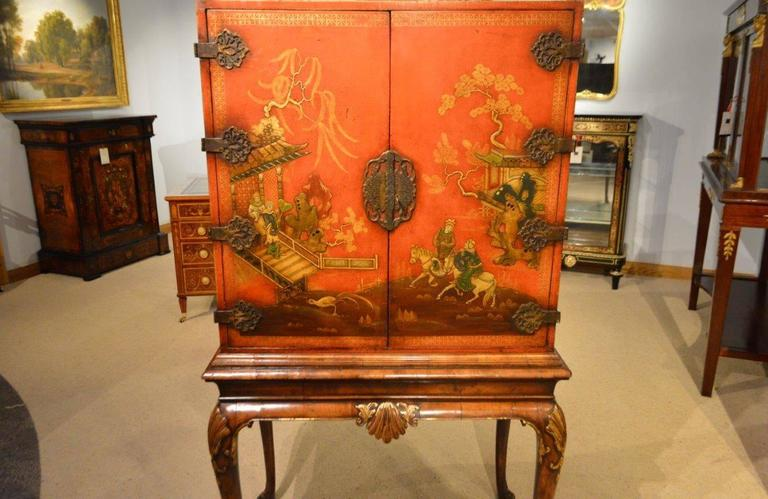 Fine Quality Chinoiserie and Red Lacquer Antique Cocktail Cabinet ...