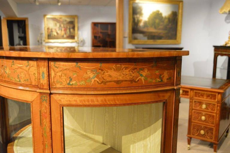Fine Quality Satinwood Edwardian Period Demilune Antique Display Cabinet 3
