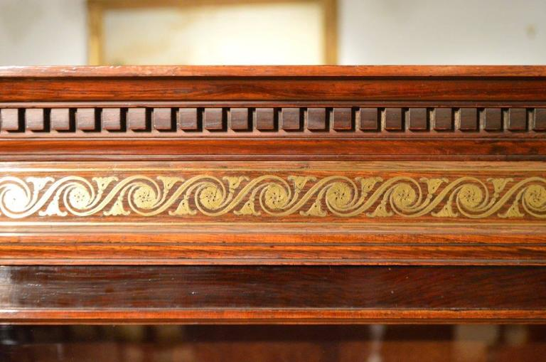 Fine Quality Brass Inlaid Rosewood Victorian Period Display Cabinet 4