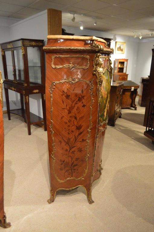 Pair of Mahogany Ormolu-Mounted French Serpentine Cabinets with Vernis Martin For Sale 4