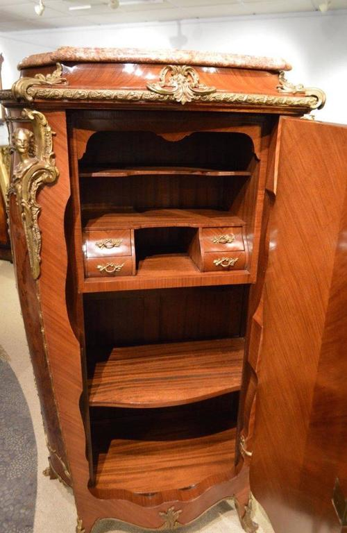 Pair of Mahogany Ormolu-Mounted French Serpentine Cabinets with Vernis Martin For Sale 5
