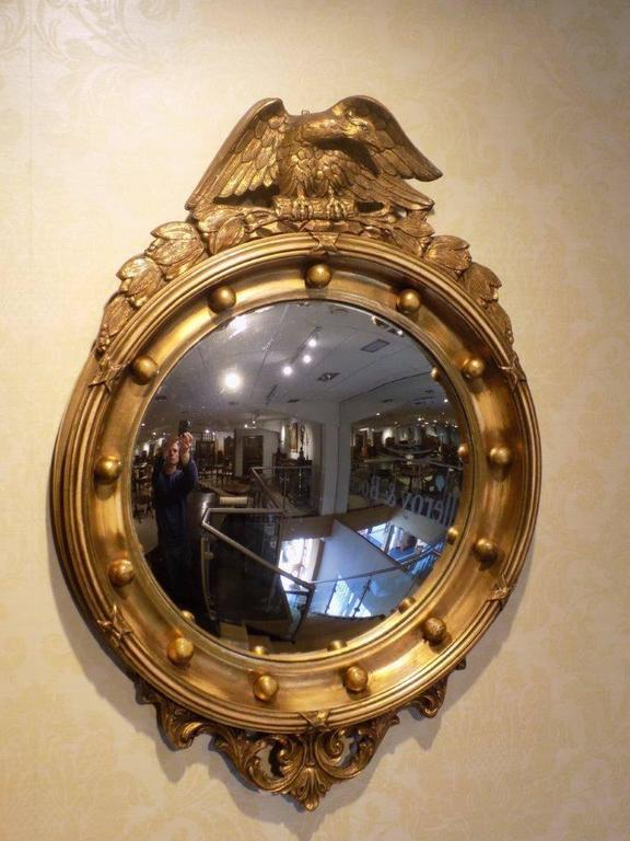 Carved Giltwood And Gesso Regency Style Convex Mirror In Excellent  Condition For Sale In Darwen,