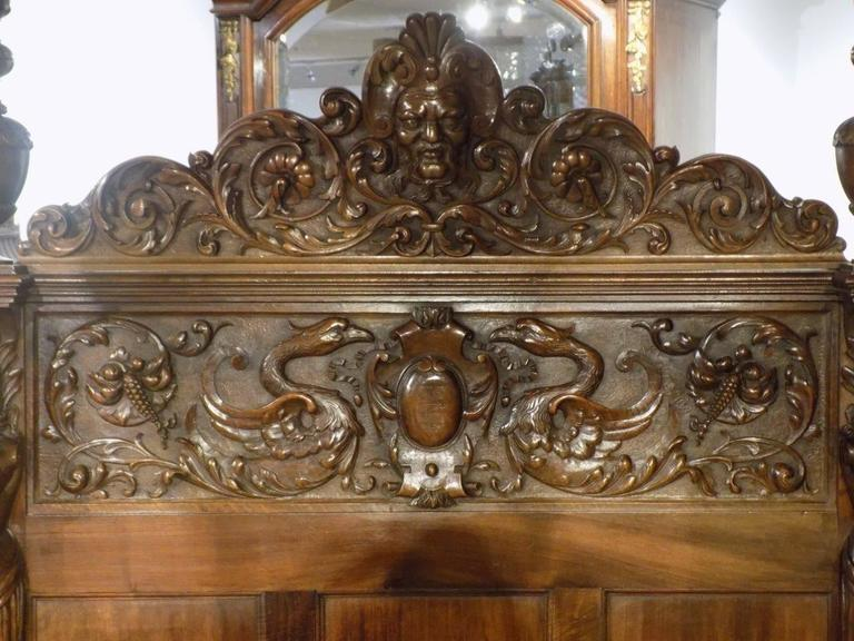 Finely Carved Italian Baroque Walnut Four Poster Single