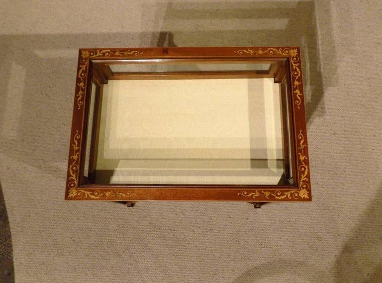 Beautiful Mahogany and Marquetry Inlaid Edwardian Antique Bijouterie Cabinet 3