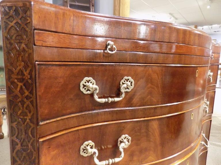 Mahogany Chippendale Style Serpentine Antique Bachelors