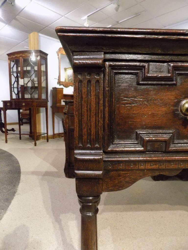 Oak Jacobean Style Two Drawer Antique Dresser Base In Excellent Condition For Darwen