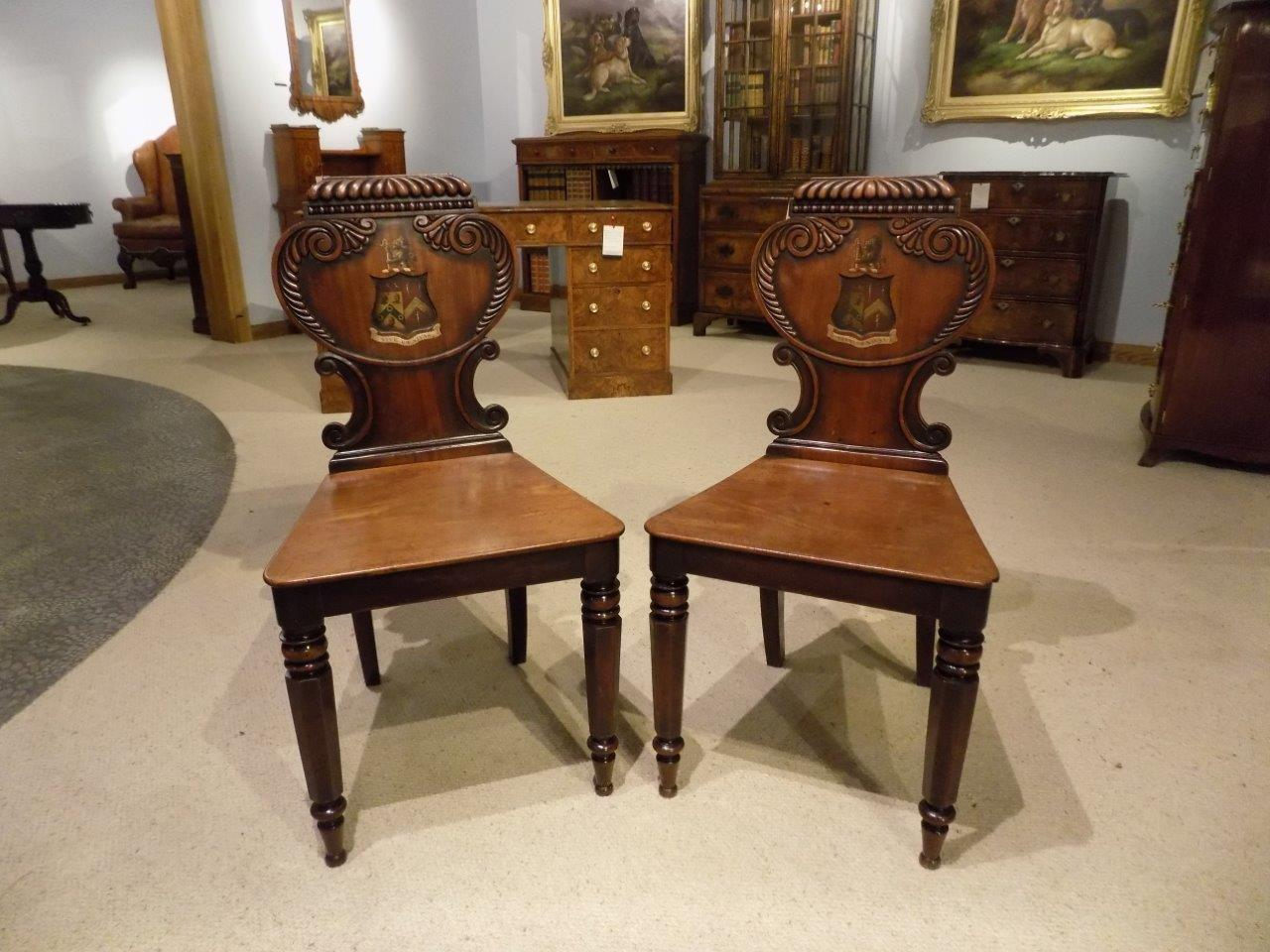 - Good Pair Of Mahogany William IV Period Antique Hall Chairs At 1stdibs