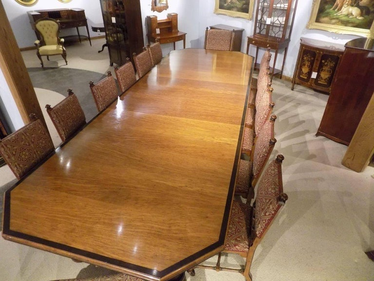 Fantastic Pollard Oak And Ebony Dining Room Table With 14 Matching Chairs 1870 2