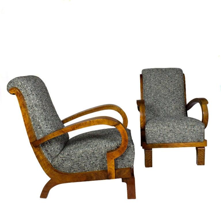 1930s Pair of Art Deco Armchairs, Walnut, Wool, Italy