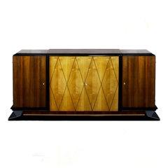 1935 Art Deco Sideboard, Attributed De Coene Frères, Walnut, Sycamore, Belgium