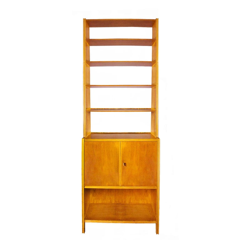 1950s Bookcase Maple Wood Two Doors And Five Shelves Italy For Sale