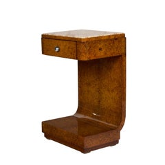 1925 Art Deco Curved Nightstand, Mahogany, Burr Thuja, Marble, France
