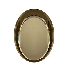 1960s Asymmetric Beveled Mirror with a Beveled Bronze Mirror Frame, Italy