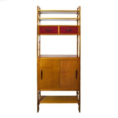 1950s Oak Modulus Storage Cabinet, Sliding Doors and Shelves, Lacquer, France