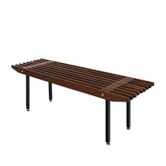 1960s Small Bench, Mahogany Slats, Blackened Steel and Brass, Italy