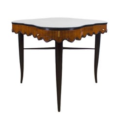 1940s Game Table, Mahogany, Corner Drawers, Brass, Felt, Italy