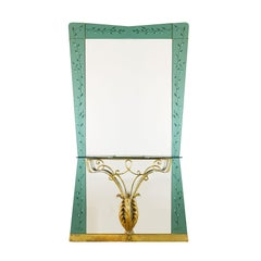 1950s Big Mirror with Console by Pier Luigi Colli, Wrought Iron, Brass, Italy