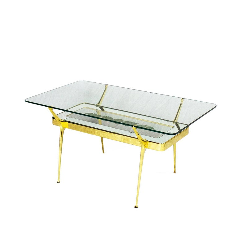1950s Coffee Table By Cesare Lacca Br Mirrored And Etched Gl Italy