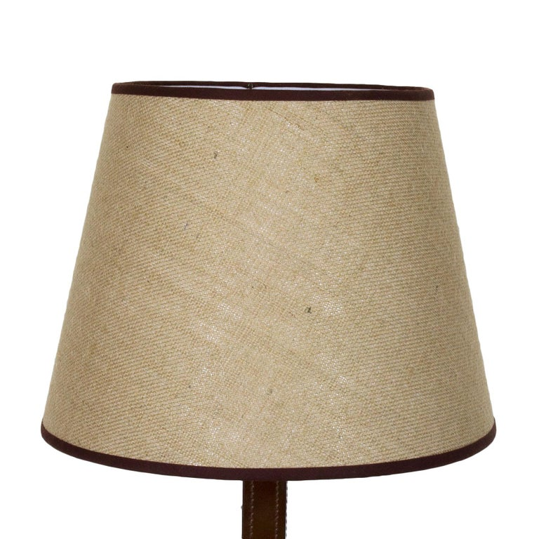 Spanish 1950s Table Lamp, Leather, Light Thread Sewing, Jute Lampshade, Spain For Sale