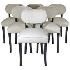 1940s Set of Six Art Deco Dining Chairs by De Coene, Beech, Fabric, Belgium