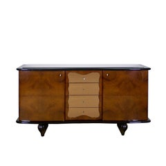 1930s Art Deco Two Doors and Four Drawers Sideboard, Thuya Burl, Mirror, Italy