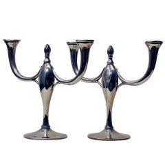 Pair of Art Deco Silver Candelabras, 2-Arms - Spain, Barcelona, 1934 - 1940
