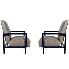 1930-1935 Pair of Art Deco Armchairs, Stained Wood and Leather, Spain