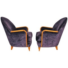 1925 Pair of Small Art Deco Armchairs, Sycamore, Velvet, France