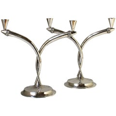 1930s Pair of Art Deco Silver Candelabra, 2 Branches, Spain