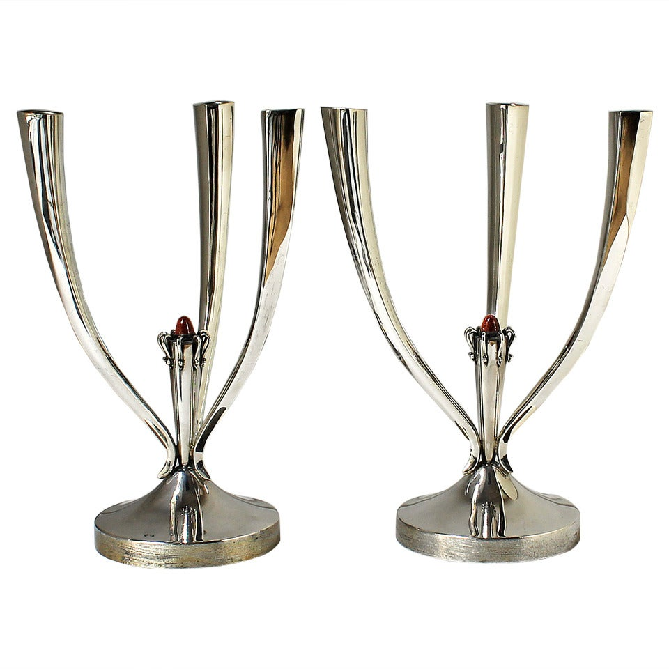 1950s Pair of Three Branches Silver Candelabras, Enameled Cabochon, Spain