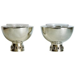 1960s Pair of Silver Caviar Bowls by Puig Doria, Spain