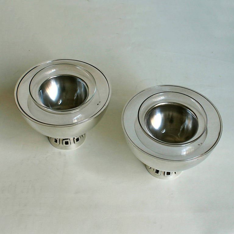 Mid-Century Modern 1960s Pair of Silver Caviar Bowls by Puig Doria, Spain For Sale