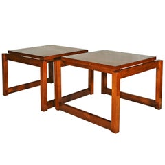 1960s Pair of Cubist Style Coffee Tables, Walnut, France
