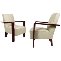 1930s Pair of Art Deco Cubist Armchairs, Lacquered Beech, Off White Wool Belgium