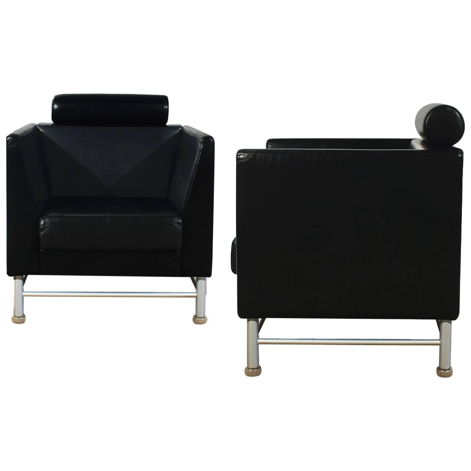 """1980s Pair of """"Eastside"""" Lounge Chairs by Ettore Sottsass for Knoll, Italy"""
