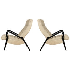 1950s Pair of French Armchairs, Zoomorphic Shape, Inclination System, France