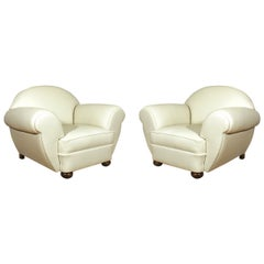 1930s Pair of Large Art Deco Club Armchairs, Ivory Leather, Belgium