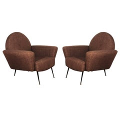 1955, Pair of Armchairs, Iron, Brass, Fabric, France