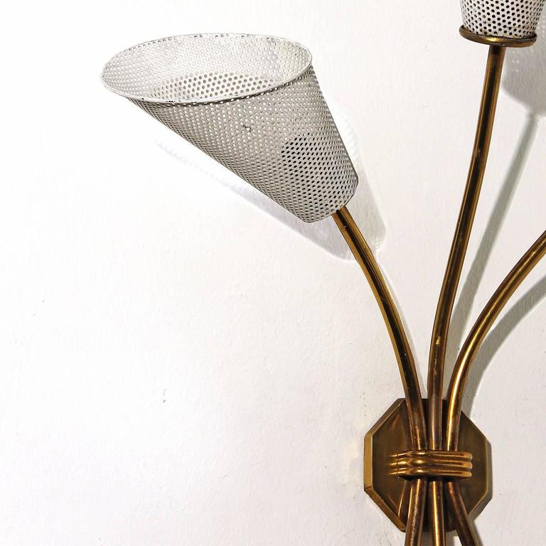 Lacquered 1960s Sconce In the Style of Mathieu Matégot, Brass, Perforated Metal, France For Sale